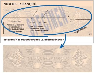 Filigrane du chèque de banque avec flammes rayées et deux semeuses