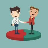 Acheteur et vendeur se rencontrent et se serrent la main