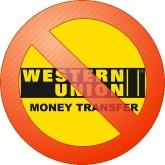 Logo Western Union barré d'un signe interdit