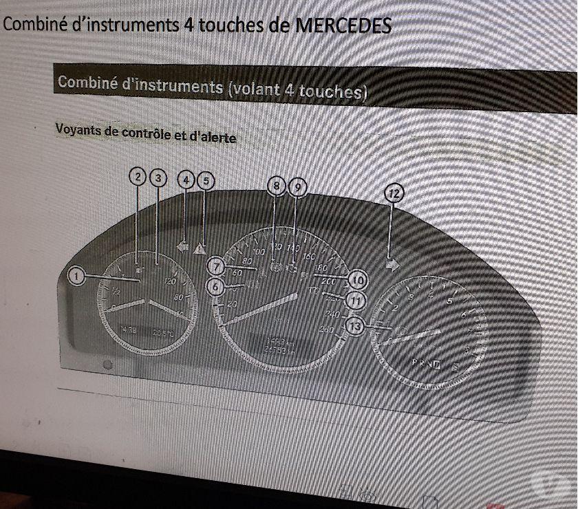 Pièces et services auto Honnelles - 7387 - Photos Vivastreet combiné d'instruments 4 touches Mercedes