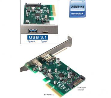 Photos Vivastreet USB 3.1 Dual Type A & Type C Ports PCI-E 4x Card ASMedia