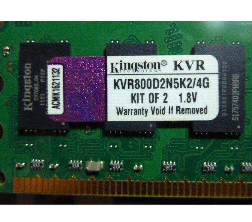 Photos Vivastreet Kingston DDR2 800 4Go ( KVR800D2N5K24G)
