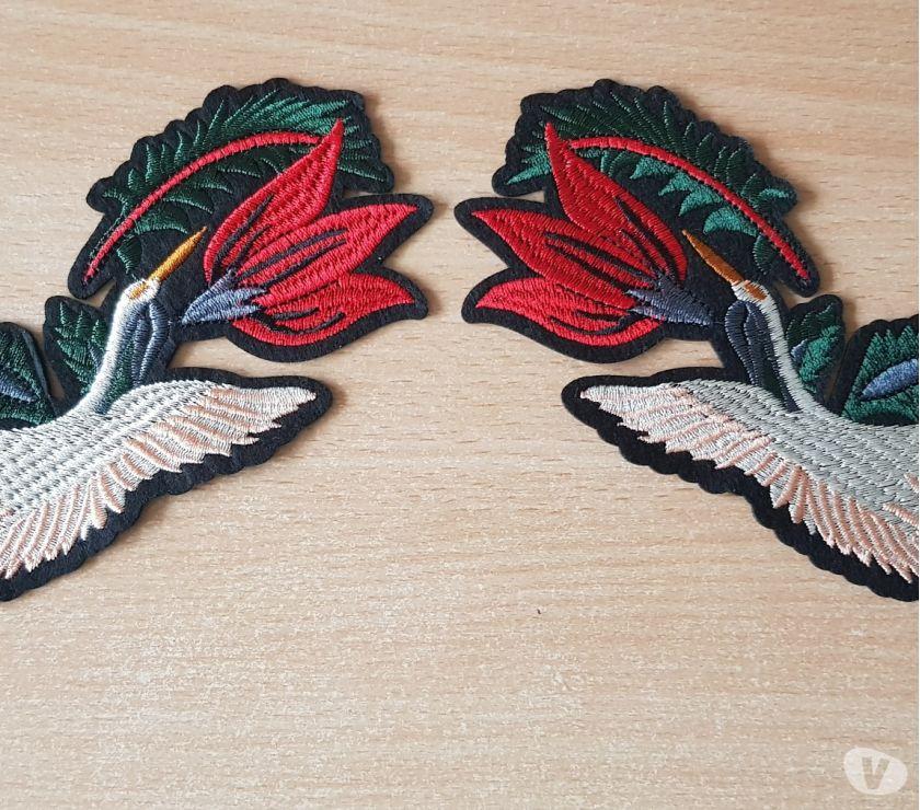 Photos Vivastreet écusson brodé paire d'oiseaux + fleur grue japonaise