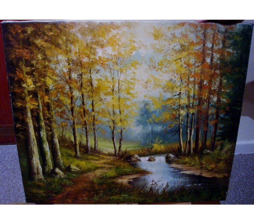 Photos Vivastreet Peinture sur toile, bois + ruisseau, signée VX Dextrée
