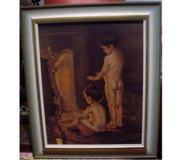 Photos Vivastreet Peinture ancienne encadrée, enfants foyer feu, 52 X 62 cm