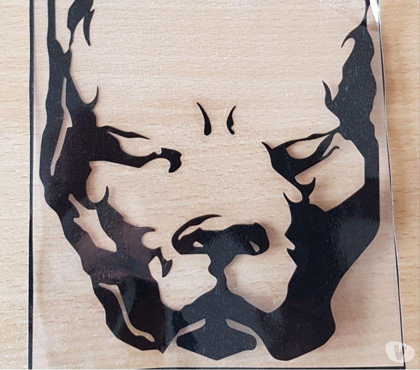 Photos Vivastreet autocollant sticker tête de pitbull couleur noir 19x14,5 cm