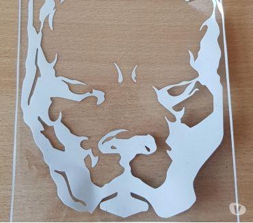 Photos Vivastreet autocollant sticker tête de pitbull couleur blanc 19x14,5