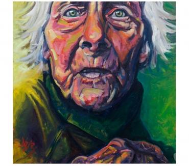 Photos Vivastreet Tableau Acrylique déco portrait vieille femme tons verts