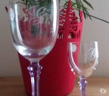 Photos Vivastreet 6 verres vin - 6 verres digestif - ancien CRISTAL D'ARQUES