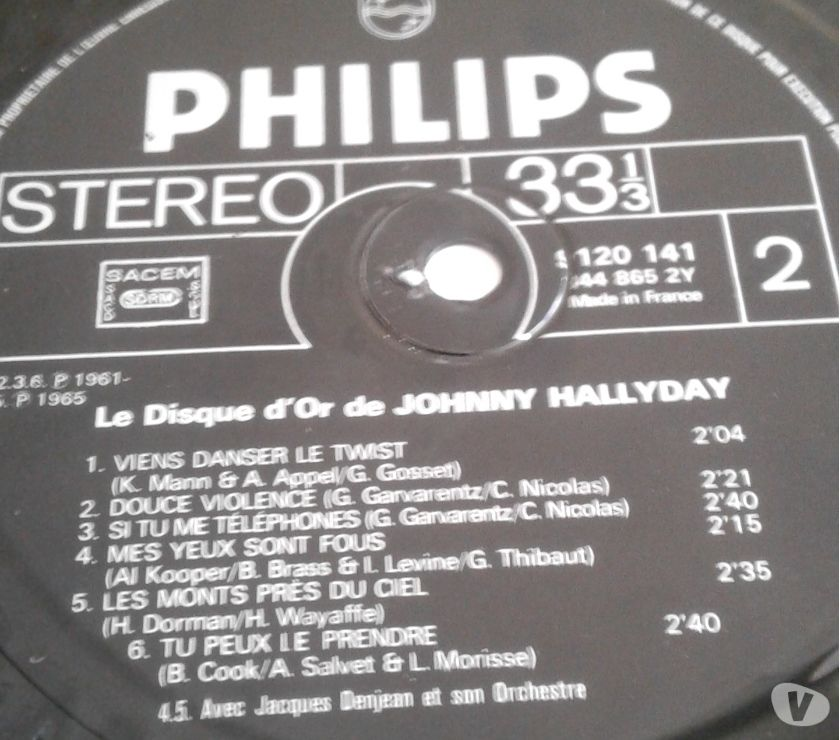 Photos Vivastreet DISQUE D'OR DE JOHNNY HALLYDAY 12 TITRES 1965 ETAT NEUF