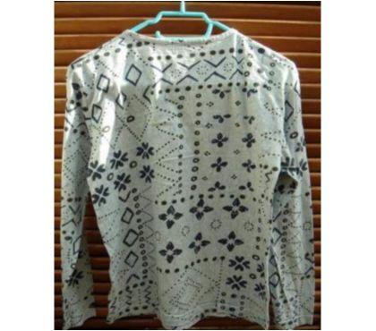 Photos Vivastreet tee-shirt manches longues. Taille M. Bleu clair. Impression