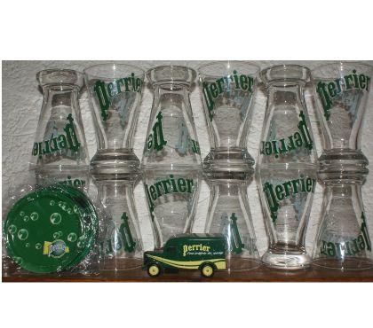 Photos Vivastreet 12 verres PERRIER neufs + 6 sous verres et camion miniature