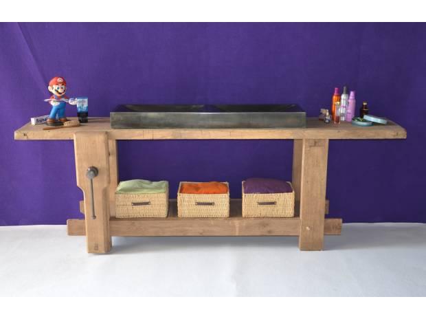 meuble de salle de bains meuble de m tier tabli zinc romenay 71470 meubles pas cher d. Black Bedroom Furniture Sets. Home Design Ideas