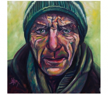 Photos Vivastreet Tableau Acrylique déco portrait homme au bonnet tons verts
