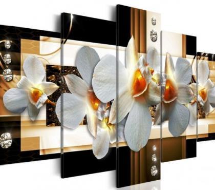 Photos Vivastreet tableau 5en1 orchidées coeur jaune 100x50cm
