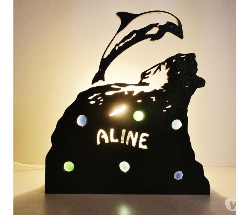 Décoration - art Nord Tourcoing - 59200 - Photos Vivastreet Lampe dauphin artisanale en bois personnalisable
