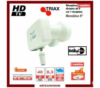 Photos Vivastreet LNB Monobloc Single 6° Triax Bruit 0,3 dB Gain 62 dB