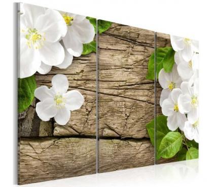 Photos Vivastreet tableau 3en1 fleurs blanches planche 60x40 cm