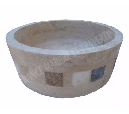 Photos Vivastreet Travertin Classique Beige Vasque Model Cylindre Mosaïque