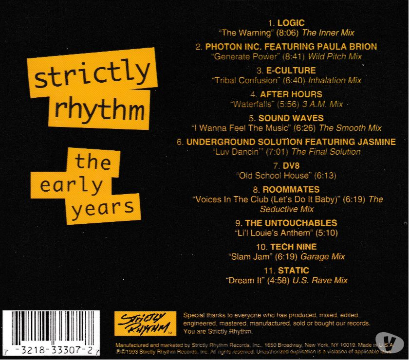 Photos Vivastreet CD Strictly Rhythm: The Early Years -Compilation Import USA