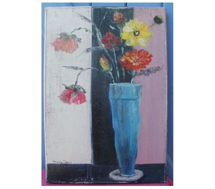 Photos Vivastreet Huile sur toile signée, fleurs dans un vase bleu 24 cm x 35