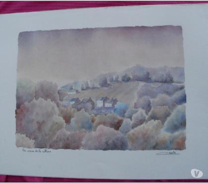 Photos Vivastreet Au coeur de la colline Lithographie aquarelle de S. CAVALLE