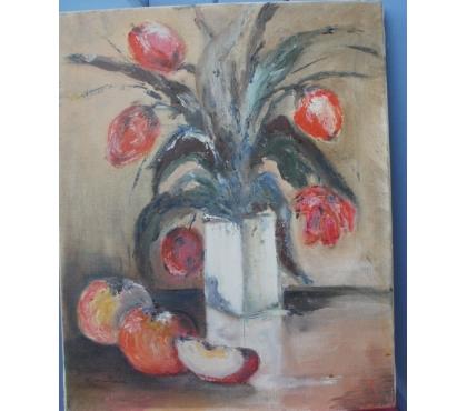 Photos Vivastreet Peinture, Huile sur toile signée Bouquet de fleurs rouges