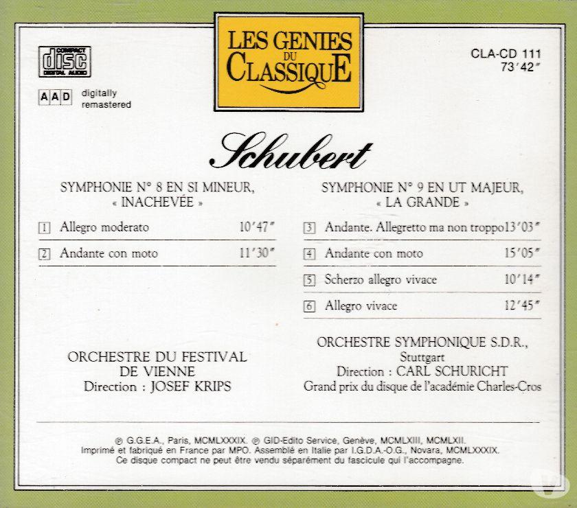 "Photos Vivastreet CD Schubert Symphonie N°8 ""Inachevée"", N°9 ""La Grande"""