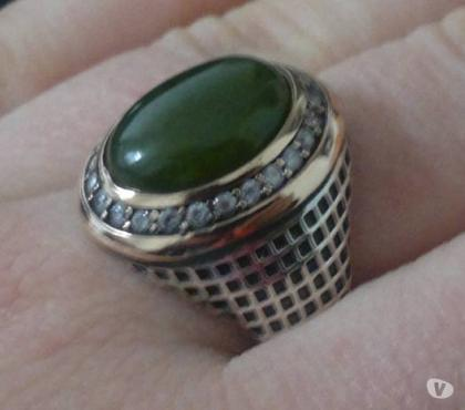 Photos Vivastreet Bague homme 925 ovale diamant vert taille 62