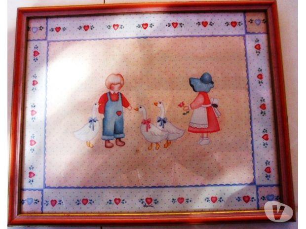 Photos Vivastreet Tableau reproduction d'enfants avec oies 0.37 X 0.30