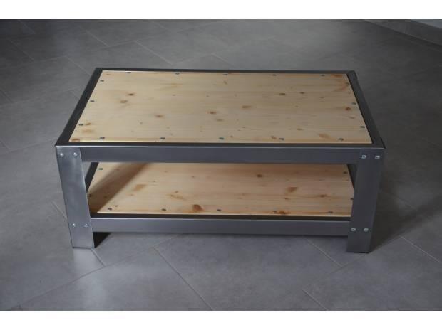 Table basse de salon en zinc et bois mobilier industriel for Mobilier industriel occasion