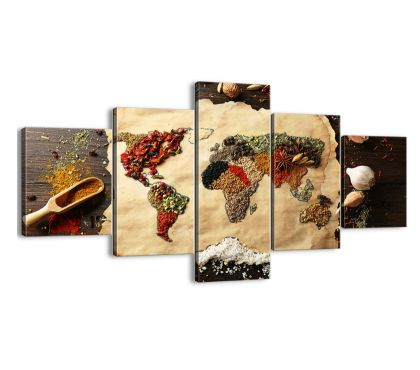 Photos Vivastreet tableau Epices couleurs carte du monde 125 x 70 cm
