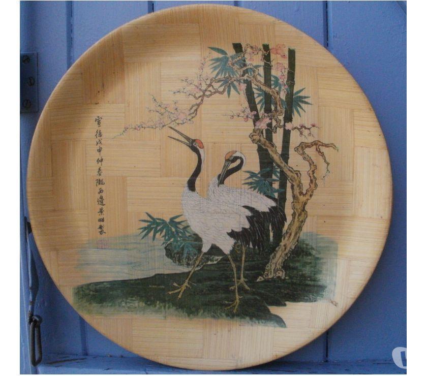 Photos Vivastreet Plateau de service rond en bambou, HERONS vintage