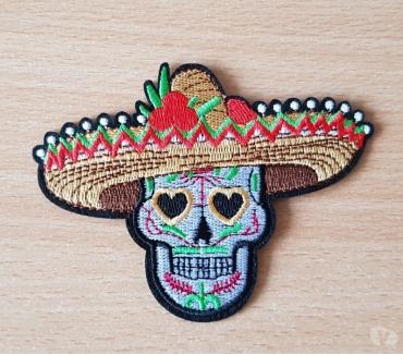 Photos Vivastreet ecusson brodé tête de mort mexicaine sombrero 10,5x8 cm t