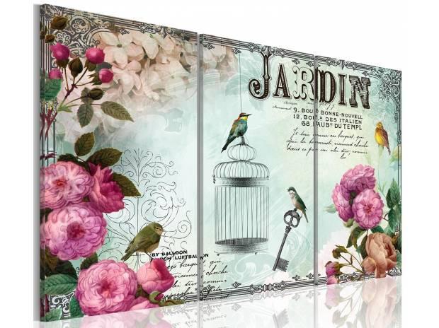 Tableau 3en1 jardin cage oiseau vintage 60x40cm agen for Oiseau decoration jardin