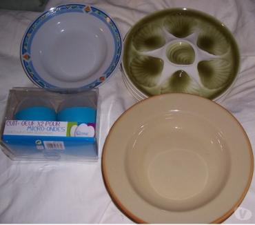 Photos Vivastreet lot de 13 assiettes + 2 coquetiers pour micro-ondes 6 assiet