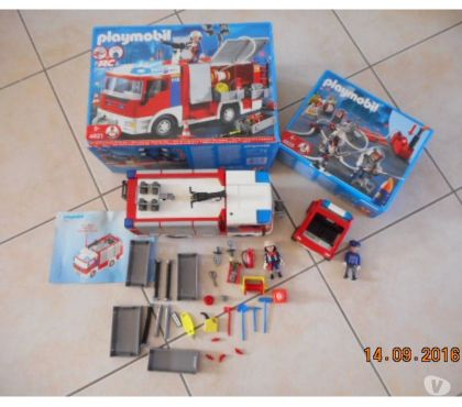Photos Vivastreet ensemble pompiers playmobil (4821+4825+voiture)