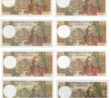 Photos Vivastreet F 62 LOT 8 BILLETS 10 F VOLTAIRE TTB+ C 290€