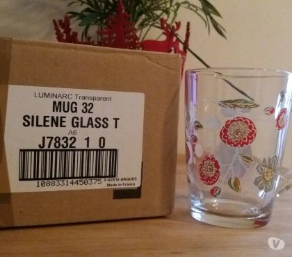Photos Vivastreet Lot 12 tasses mugs transparent fleurs 32 cl - Luminarc ORIGI