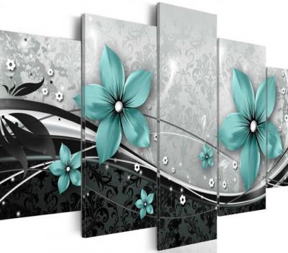 Photos Vivastreet tableau 5en1 fleur bleué dans l'abstrait 100x50 cm