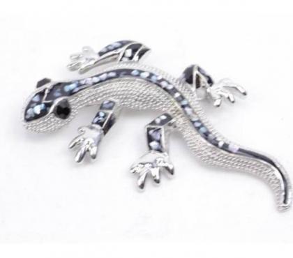 Photos Vivastreet Broche en métal argenté strass Gecko