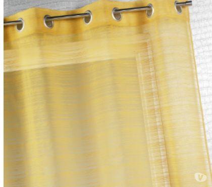 Photos Vivastreet 2 Voilages en étamine, à fines rayures, couleur miel
