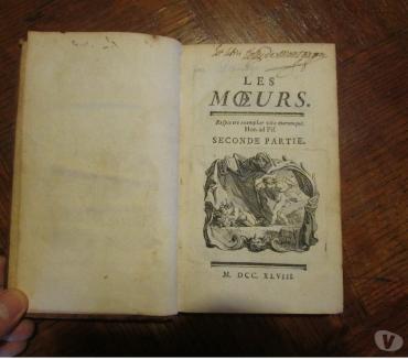 Photos Vivastreet Livre ancien rare - Les moeurs 1748