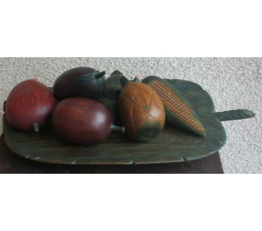 Photos Vivastreet Coupe à fruits 36.5 cm x 18 cm et fruits en bois