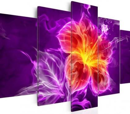 Photos Vivastreet Tableau 5en1 fleurs abstrait fumé 100x50 cm