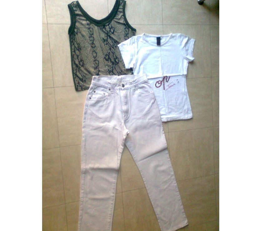 Photos Vivastreet pantalon jean blanc, T.Shirt, débardeur ... S - zoe