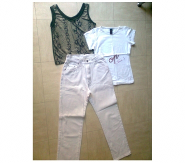 Photos Vivastreet 2 pantalons blanc et bleu, tee shirts, jupe,... S, 38,40 -