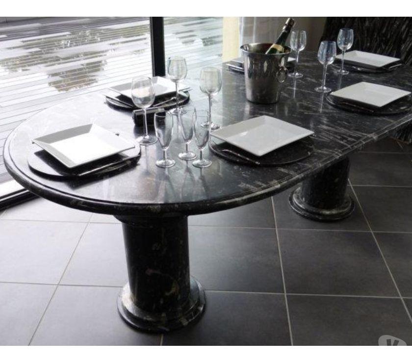 Table de salle à manger ovale en marbre fossilisé - Paris 5ème ardt ...