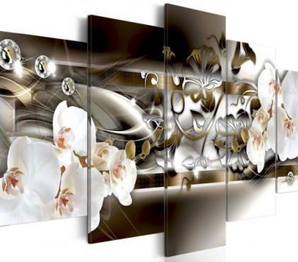 Photos Vivastreet Tableau 5en1 orchidée blanc fleur arabesque 100x50