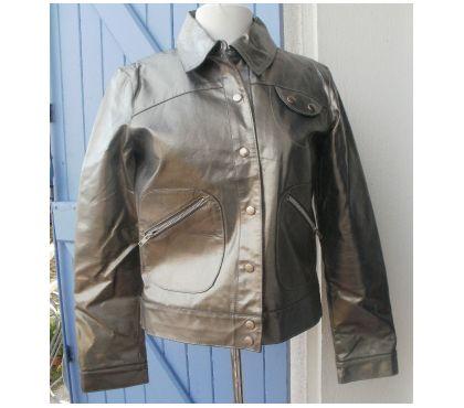 Photos Vivastreet Blouson en cuir LA FERIA Taille M gris métallisé